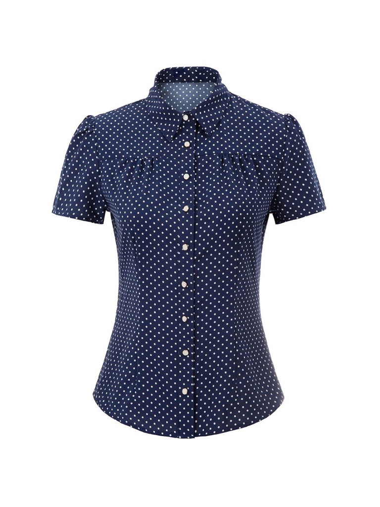 Vintage Shirt Short Sleeve Polka Dots OL Top