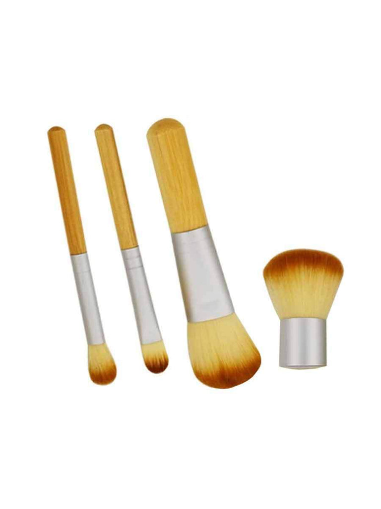 Makeup Tools 4 Pcs Brush Set With Bamboo Handle