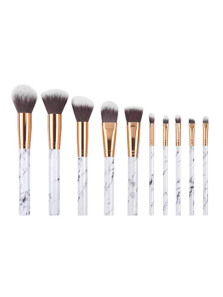 Beauty Brush Set 10 Pcs Marble Pattern Makeup Tool