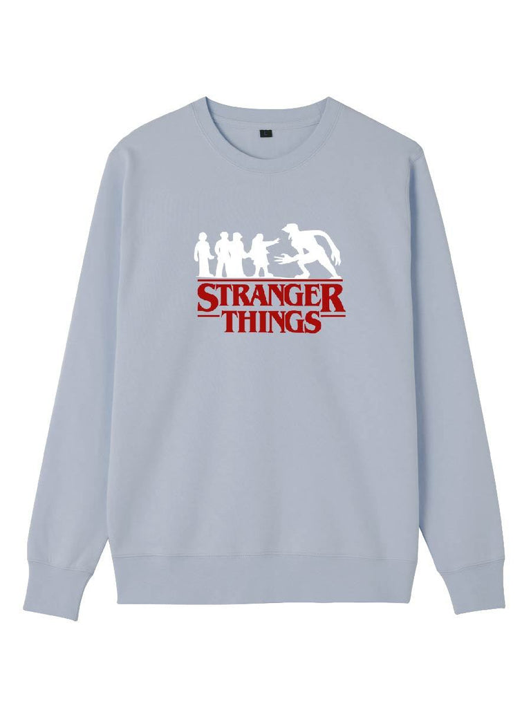 Stranger Things Series Character Silhouette Letter Print Pullover