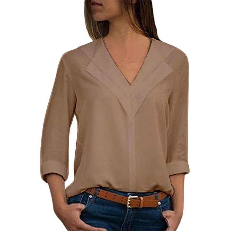 Long Sleeve Double V-neck Leisure Blouse