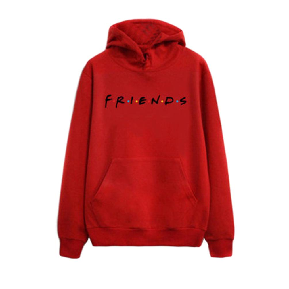Women Stylish Letter Print Long Sleeve Hooded Loose Sweatshirts Pullover With Drawstring