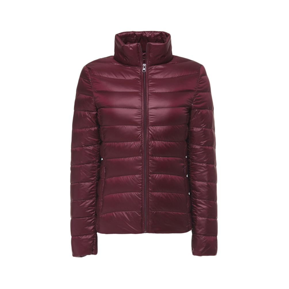 Womens Down Jacket Water Resistant Quilted Warm Stand Collar Winter Coat With Front Pockets
