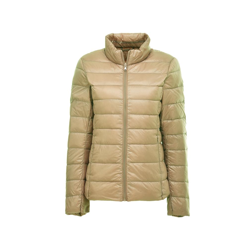 Womens Down Jacket Zip Quilted Jacket High Neck Windproof Jacket Warm Winter Coat