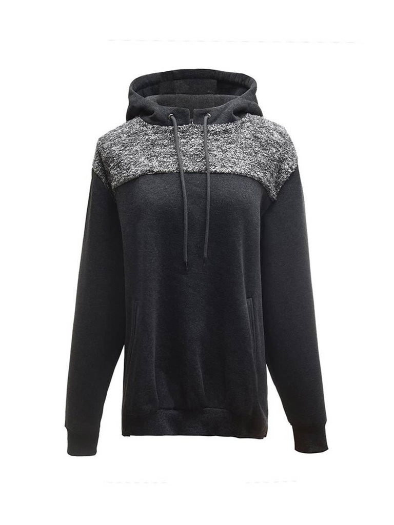 Casual Pullover Unisex Loose Patchwork Long Sleeve Hoodie