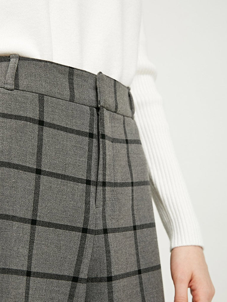 Casual Trousers Simple Plaid Cropped Wide-Leg Pants