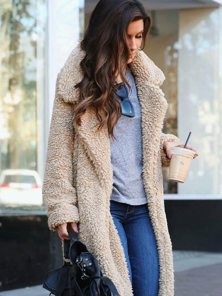 Casual Overcoat Soft Thick Faux Fur Slim Long Outerwear