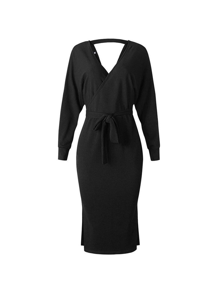 Sweater Dress Long Sleeve Double V Neck Wrap Belted Knitted Dress