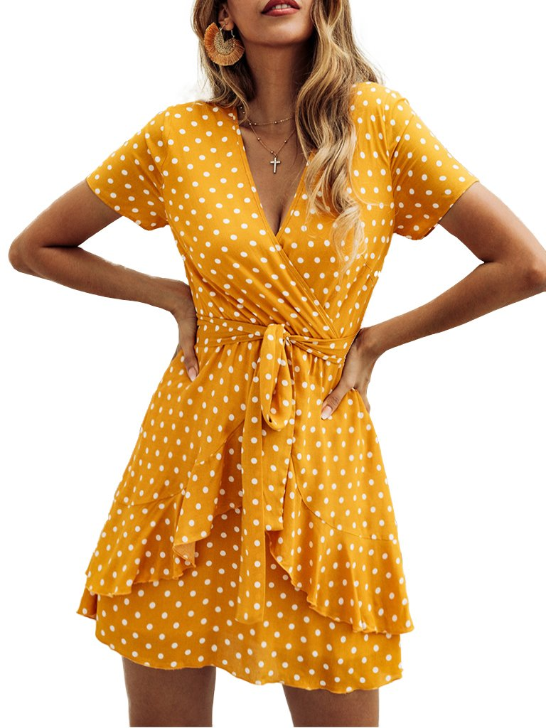 Polka Dot Dress V-neck Ruffled Slim Mini Dress