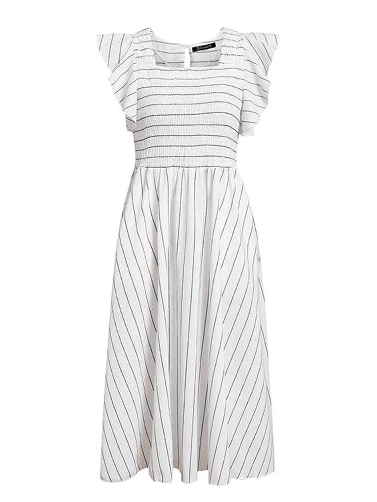 Womens Striped Long Dress Ruffles Linen Elegant Dress