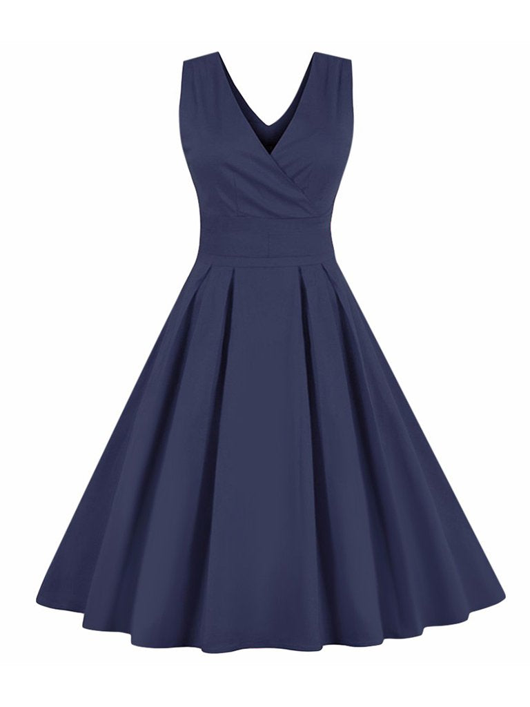 Womens Sleeveless Dress Retro Style Bowknot Decor Swing Dress