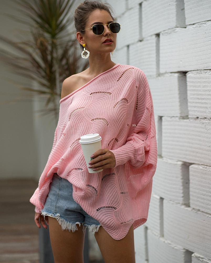 Women Off Shoulder Tops Long Sleeve Loose Hollow Knitted Sweater