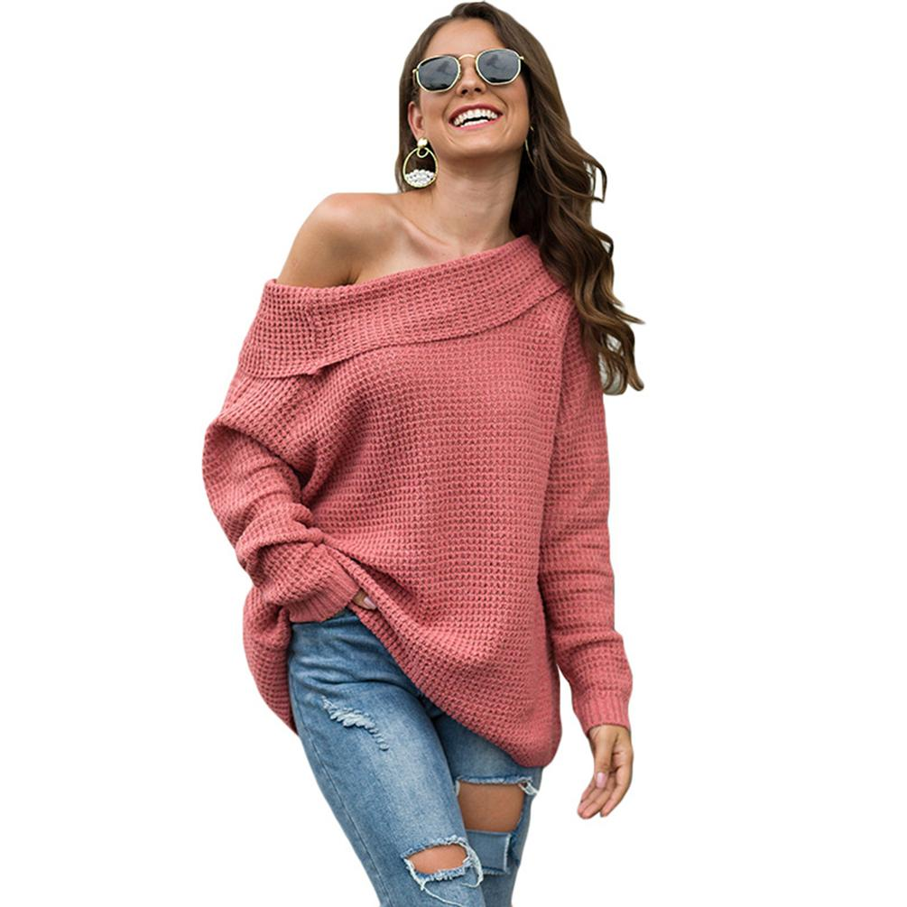 Women Off Shoulder Sweater Casual Long Sleeve Loose Pullover Jumper