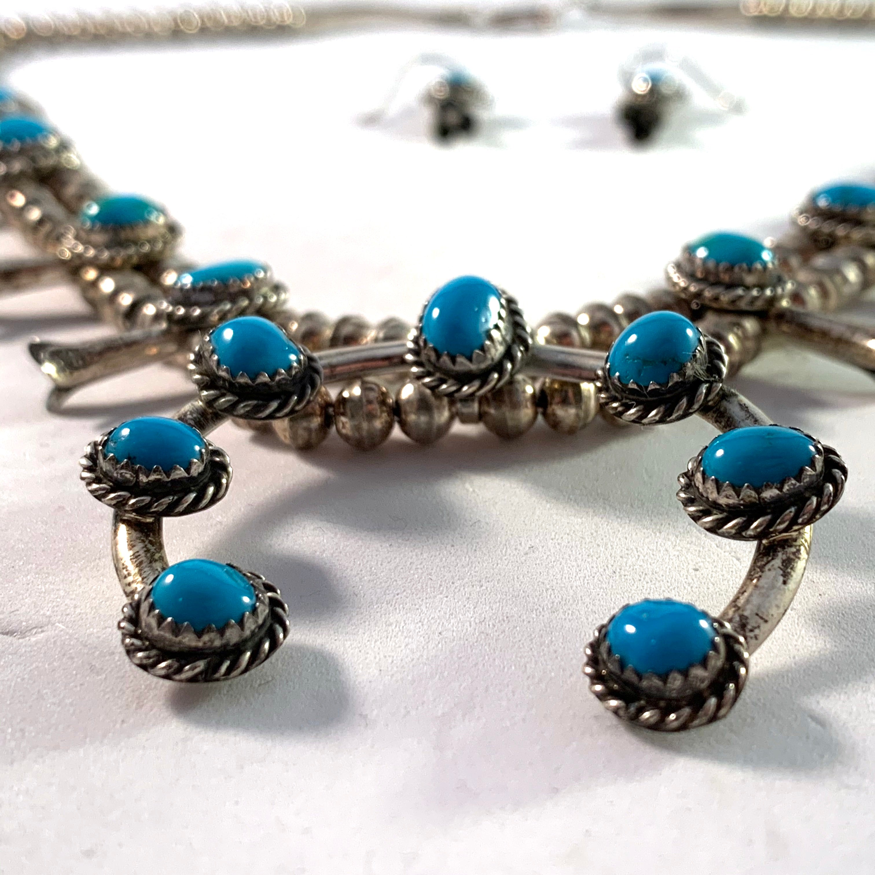 Signed Vintage Navajo Native American Sterling Silver Blue Turquoise Squash Blossom Necklace and Earrings.