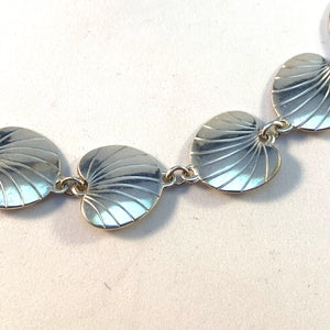 Eiler & Marløe, Denmark Mid Century 830 Silver Leaves Necklace.