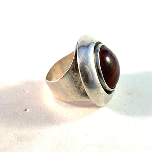 Niels Erik From, Denmark 1960s Bold Sterling Silver Baltic Amber Ring.