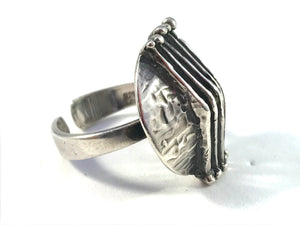 Teka, Theodor Klotz, Germany 1960s Modernist Sterling Silver Adjustable Size Ring.
