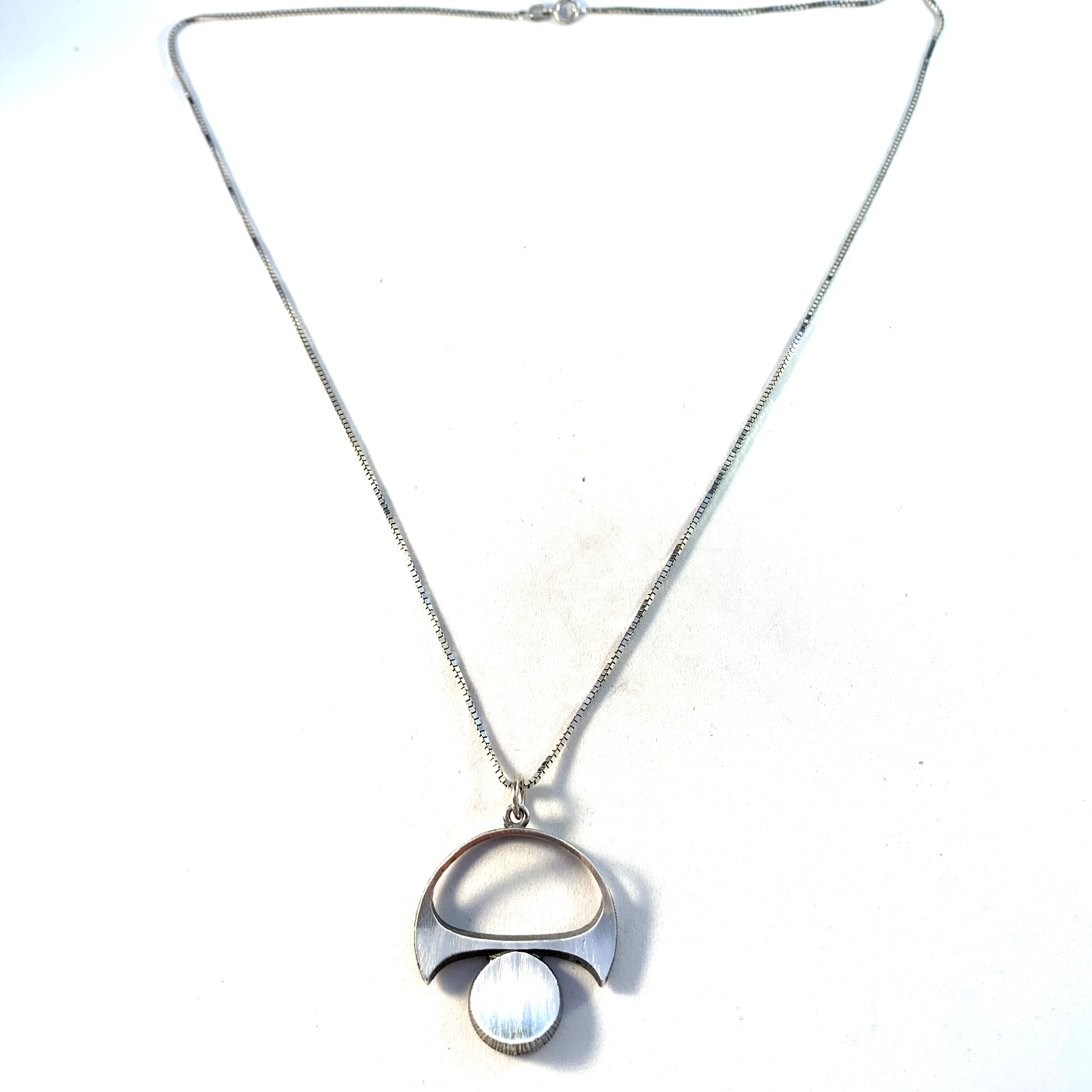 Sten & Laine, Finland 1973 Vintage Sterling Silver Pendant. Italian Chain.