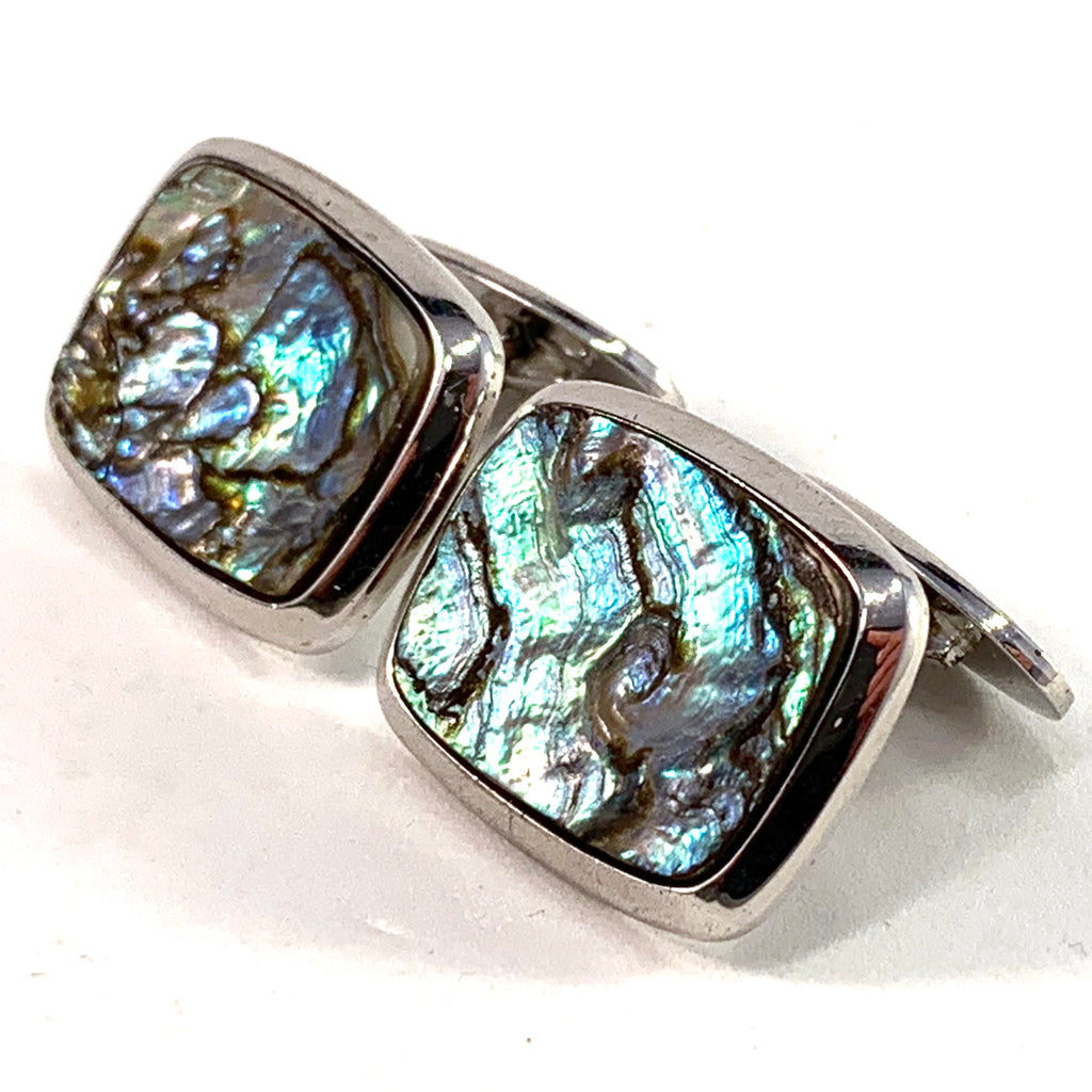 Swedish Import 1960s Large Solid 830 Silver Abalone Cufflinks