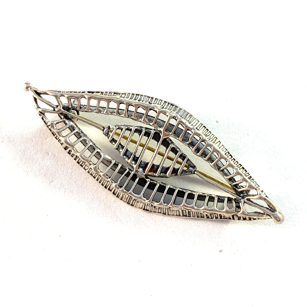 Studio Else and Paul, Norway 1960s Modernist Sterling Silver Brooch.
