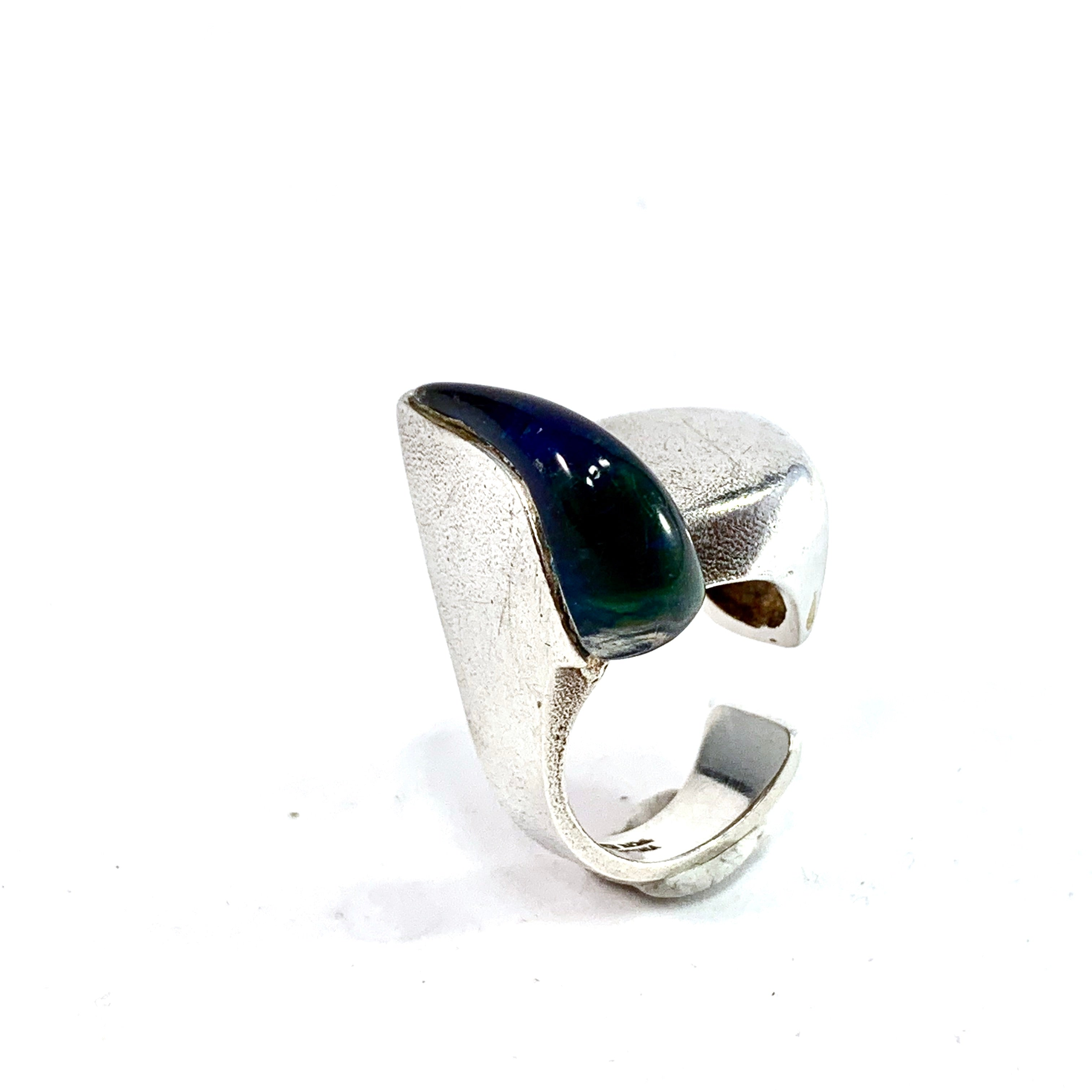 Bjorn Weckstrom for Lapponia year 1974 Sterling Silver Acrylic Ring. Design: Darina's Tear