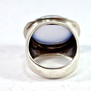 Rey Urban, Stockholm 1955 Mid Century Modern Sterling Silver Chalcedony Pinky Ring. Early.