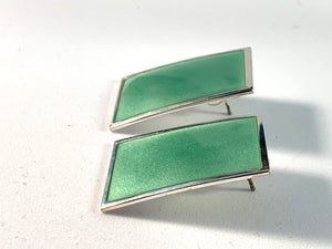 Millie Behrens for David Andersen, Norway Large Sterling Silver Green Enamel Vintage Stud Earrings.
