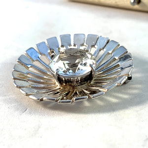 Victor Janson, Sweden 1950-60s Mid Century Modern Sterling Silver Rock Crystal Brooch. Boxed.