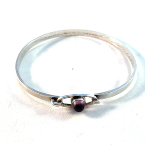 Erik Granit, Finland 1964 Solid Silver Amethyst Open/Close Bangle Bracelet.