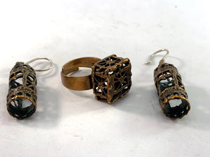 Pentti Sarpaneva Finland 1960-70s Bronze Silver Set. Adjustable Ring. Dangle Earrings.