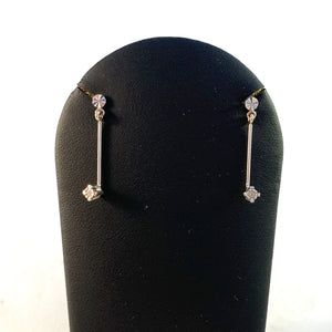 Vintage Mid Century 18k White Gold 8-cut Diamond Dangle Earrings.