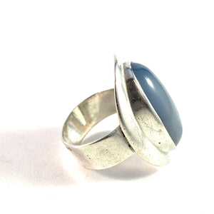 Swedish Import 1960 Modernist Sterling Silver Moonstone Ring.