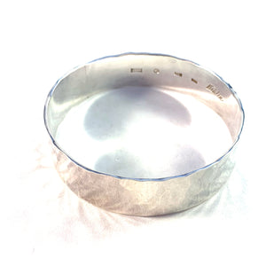 Kuhlin, Sweden Vintage Massive Hand Hammered Sterling Silver Bangle Bracelet. Signed