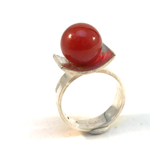 G Dahlgren, Sweden year 1969 Vintage Space Age Sterling Silver Carnelian Ring.