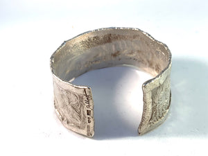 Robbert, Sweden year 1973 Massive Modernist Sterling Silver Cuff Bangle Bracelet. Signed.
