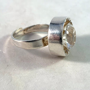 Bengt Hallberg, Sweden 1972. Modernist Sterling Silver Rock Crystal Ring.