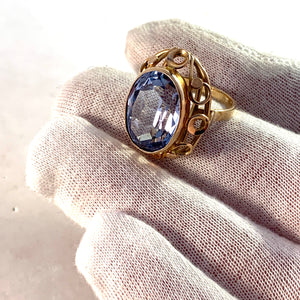 Eastern Europe 1940-50s Mid Century 14k Gold Synthetic Spinel Cocktail Dinner Ring.