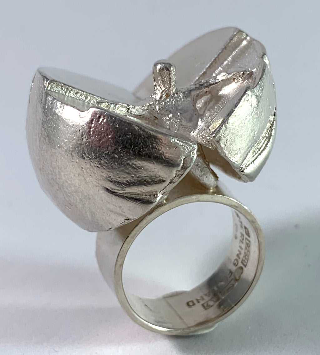 Bjorn Weckstrom for Lapponia 1967 Sterling Silver Ring. Design Ikaros from Space Series.