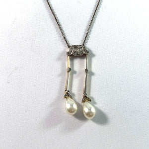 France c 1910 Belle Epoque Platinum 14k Gold Silver Rose Cut Diamond an Faux French Pearl Negligee Necklace