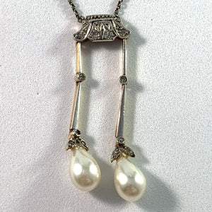 France c 1910  Platinum 14k Gold Silver Rose Cut Diamond Faux French Pearl Negligee Necklace