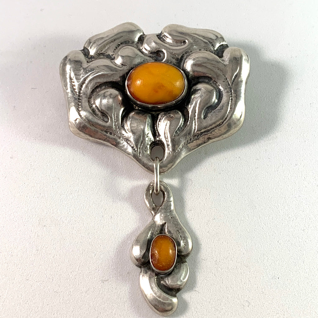 Knud Georg Jensen, Denmark c 1910s Arts and Crafts Skonvirke 826 Silver Amber Brooch.