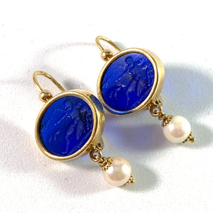 Naples, Italy Vintage 18k Gold Venetian Glass Cultured Pearl Earrings