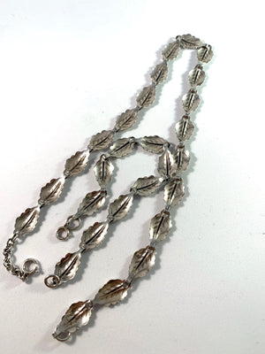 Swedish Import c 1950s Mid Century Solid Silver Set. Necklace and Bracelet.