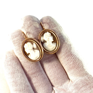 Russia, Soviet Era 1950-60s Mid Century 14k Gold Cameo Large Earrings. 11.9gram