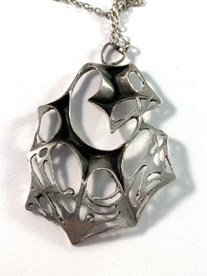 Karl Laine, Finland year 1961 Sterling Silver Spider Web Large Pendant Necklace.