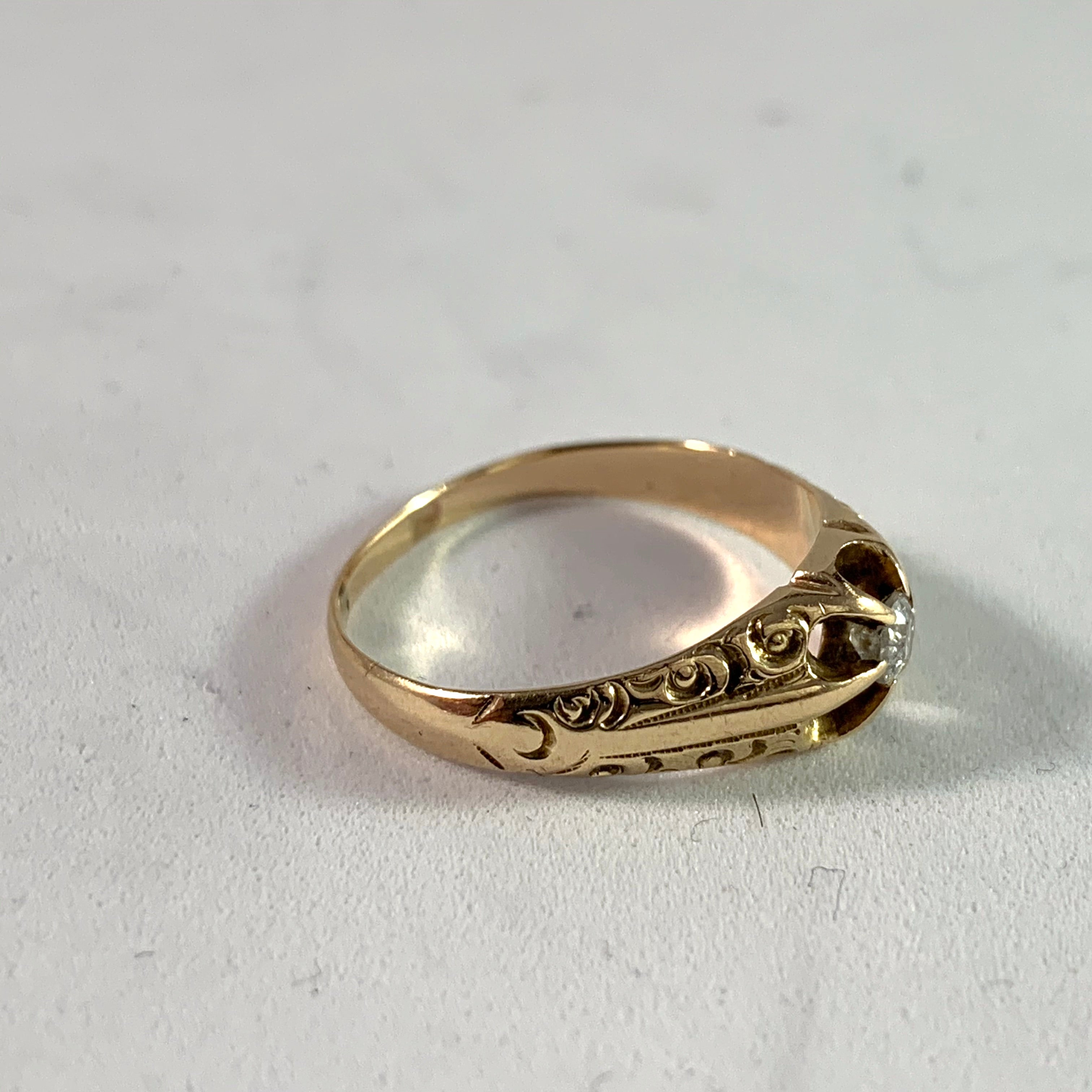 Edwardian 14k Gold 0.10ct Old Cut Diamond Engagement Ring. Maker's Mark