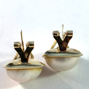 Mid Century 14k Gold Large Mabe Pearl Earrings.