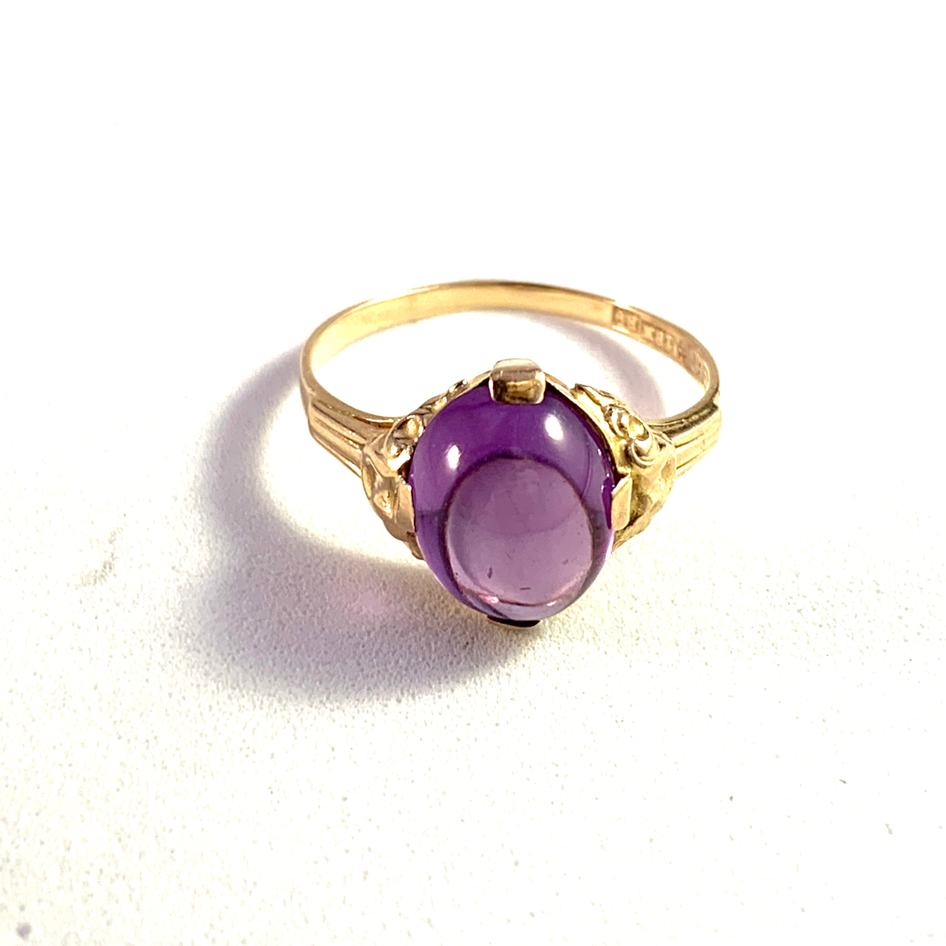 Ceson, Sweden 1952 Mid Century 18k Gold Synthetic Sapphire Ring.