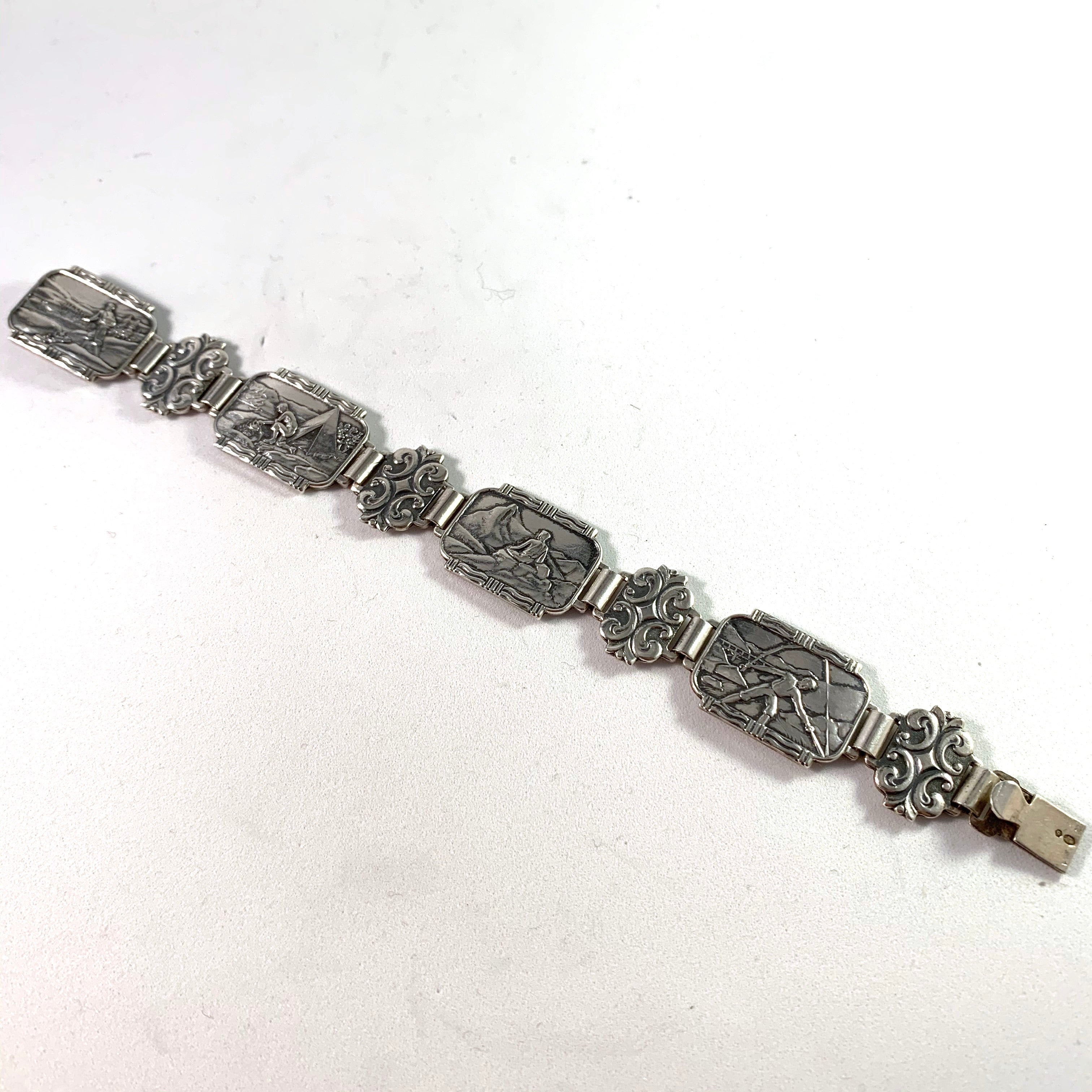 "Willy Winnæs, Norway 1950s Solid 830 Silver ""Hiking In The Mountains"" Bracelet."
