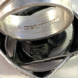 Sten & Laine, Finland year 1972 Sterling Silver Modernist Ring. Orbital.